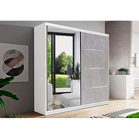 Armoire de Chambre avec 2 Portes coulissantes 1 Porte avec Miroir   Penderie (Tringle) avec étagères (LxHxP): 183x218x61 Beton (Blanc)