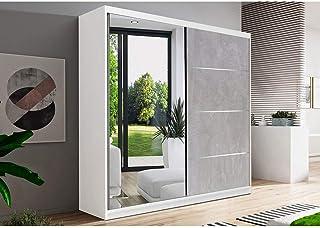 E-MEUBLES Armoire de Chambre avec 2 Portes coulissantes 1 Porte avec Miroir | Penderie (Tringle) avec étagères (LxHxP): 18...