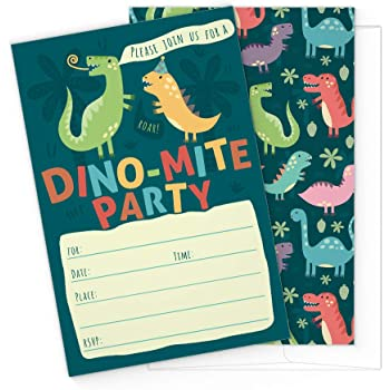 Dinosaur Kids Party Invitation Cards - Lots of Fun with a Pun! 25 High Quality Invites with Envelopes for T-Rex Kids Party, Jurassic Birthday or a Dino Themed Baby Shower.