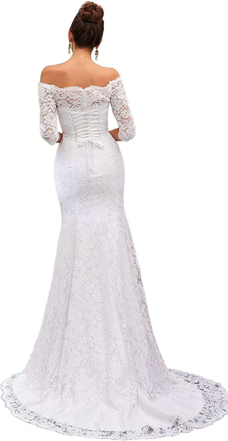 XJLY Elegant Off The Shoulder 3 4 Sleeve Lace Mermaid Wedding Dress Bridal Gowns