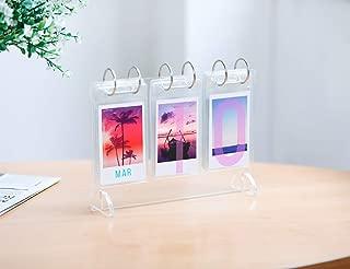 WINKINE Instax Mini Photo Album 2x3, 52 Pockets Acrylic Desk Calendar Style Photo Album for Fujifilm Instax Mini 7s 8 8+ 9 25 26 50s 70 90 Film, Polaroid Z2300, Instant Camera(Clear)