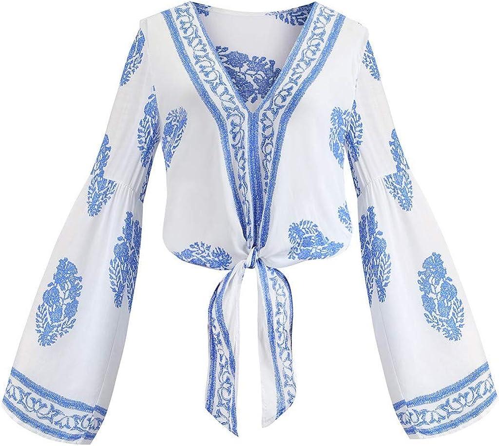 VEFSU T Shirt for Women Loose Flare Sleeve Printing Bandage Deep V Neck Blouse S-XL