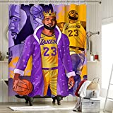 Los Angeles Lakers Championship - Cortinas de ducha para baño, decoración del hogar, cortina de ducha 2020 FMVP Lebron James 23Rd King Crown Art Sports Player Poster 72 x 84 pulgadas