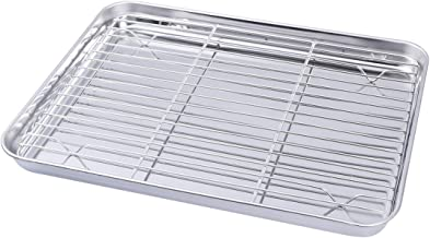 BESTONZON Baking Tray with Rack Stainless Steel Baking Sheet Toaster Pan with Cooling Rack 31x24x2.5cm