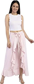PepTrends Women's Flared Overlay Skirt with Palazzo and Fabric Belt