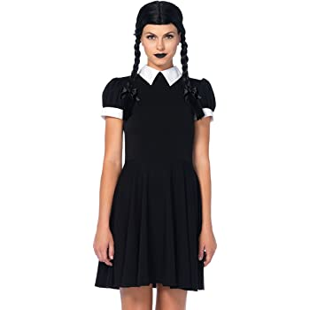 Leg Avenue- Black/White Gothic Wednesday Darling Fancy Dress ...