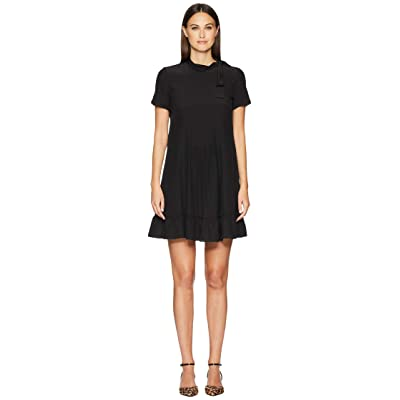 RED VALENTINO Silk Crepe De Chine Dress (Black) Women