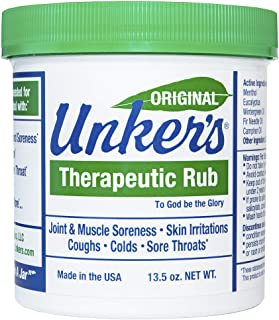 Unkers Therapeutic Rub for Joint Pain, Sore Muscles, Burn Cream, or Calm Your Cough 13.5 ounces