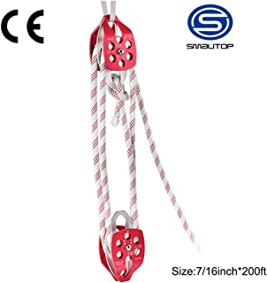 S SMAUTOP Twin Sheave Block and Tackle Twin Sheave Block with Braid Rope 30-35KN 6600-7705LBS Double Pulley Rigging