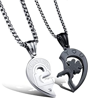c295f7a5f1 Fate Love His and Her Heart Key Matching Puzzle Stainless Steel Couples  Necklace