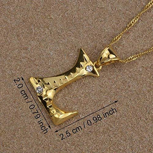 LLXXYY Collar Dama Mapa,Letra Inicial En Inglés L, Collares Colgantes para Hombres Mujeres Chica con Alfabeto De Piedra Color Oro Cadena Encanto Joyas