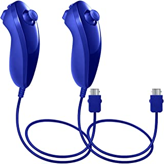 AFUNTA Nunchuck Controllers Compatible Nintendo Wii U, 2 Packs Replacement Compatible WII U Video Game - Dark Blue