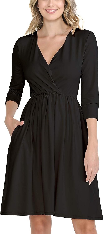 WeSeeFashion Quality Basic Casual Wrap Dress - Quarter Sleeves B