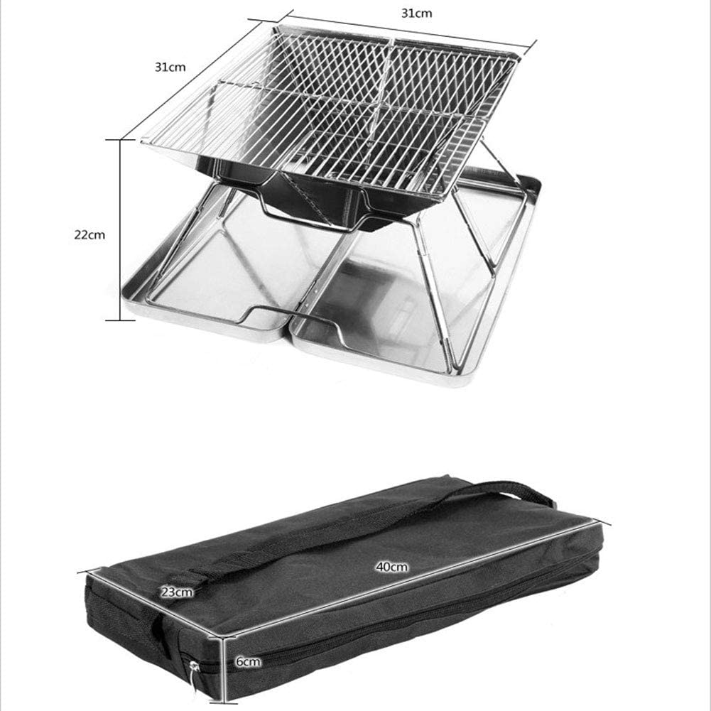 Barbecue Barbecue portable Barbecue au charbon Barbecue en acier inoxydable Grill Table pliable charbon Jardin Voyage Camping pliant Grill (3-5 personnes),A B