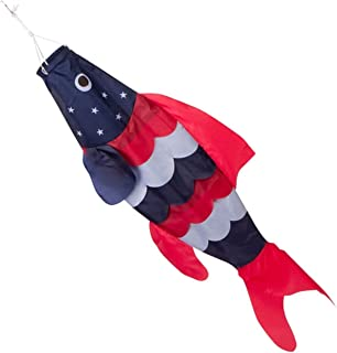 40-inch Patriotic Fish Windsock (3.3 feet) -- Stars and Stripes -- Red, White, Blue -- Includes hanging clip.
