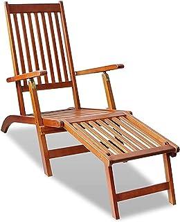 アカシアウッドガーデン家具シート、ハードウッドデッキチェア、ガーデン用ウッドチェア、フットレスト付き屋外デッキチェア-