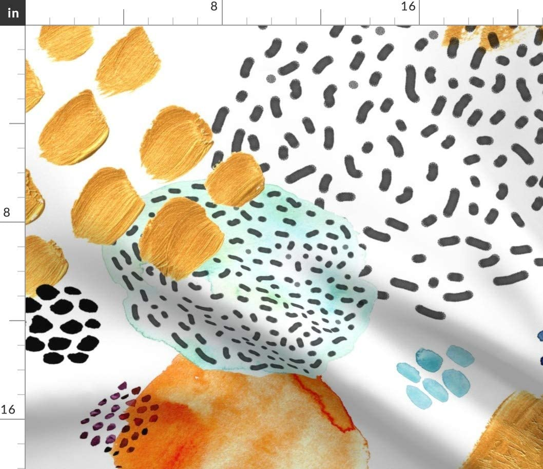 Spoonflower メーカー公式ショップ 開店祝い Fabric - Memphis Bright Watercolor Orange Turquoise