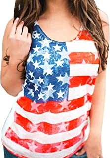 Wasababy Blouses for Women Summer Women Casual Sleeveless American Flag Tank Vest Tops Casual Blouse T Shirt Blouses