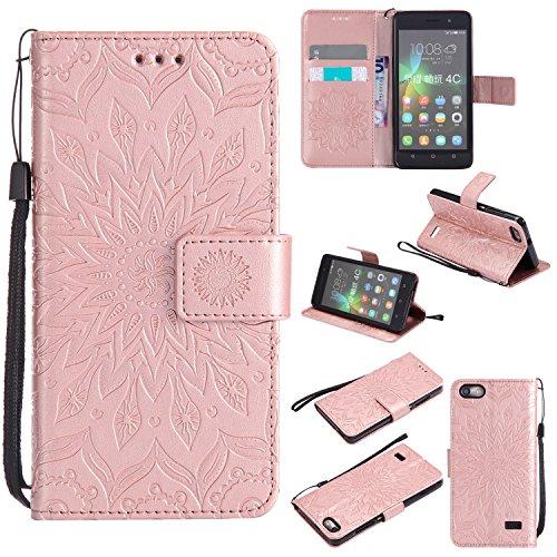Qiaogle Telefono Case - Custodia in Pelle PU Basamento Custodia Protettiva Cover per Huawei G Play Mini / (Honor 4C) (5.0 Pollici) - KT49 / Classic Embossed (Rose d'oro)