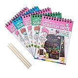 NBEADS 5 Sets Rainbow Scratch Paper Kit de Arte-50 Hojas Mini Scratch Spiral Bound Note Book +3 Piezas de Bamboo Stylus para niños Niños niñas para Hacer Arte Divertido