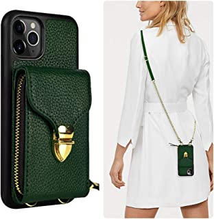 JLFCH iPhone 11 Pro Wallet Case, iPhone 11 Pro Crossbody Case with Zipper Card Slot Holder Wrist Strap Shoulder Chain Protective Cover for iPhone 11 Pro 5.8 inch - Midnight Green