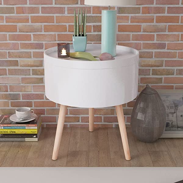 Festnight Round Coffee Side Table Large Storage Serving Tray Lid White Sofa End Table Wood Legs Living Room Bedroom Home Furniture 15 6 X 17 5 Diam X H