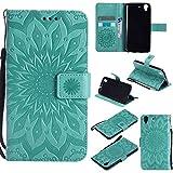 pinlu® Flip Funda de Cuero para Huawei Y6 II/Honor 5A Carcasa con Función de Stent y Ranuras con Patrón de Girasol Cover (Verde)
