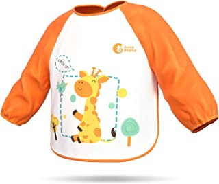 Waterproof Baby Toddler Bib, Cute Stone Soft Long Sleeved Aprons Smocks with Pockets for Kids Children, Easily Wipe Clean, Keep Stains Off, Machine Washable, 6-36 Months, Orange
