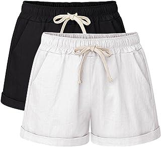 Women's Drawstring Shorts Elastic Waist Shorts Casual Comfy Beach Shorts with Pockets