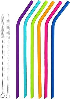TAMAÑO REGULAR Pajas de beber reutilizables de silicona Juego de 6 para adultos y niños - 2 cepillos de limpieza incluidos por BasicForm