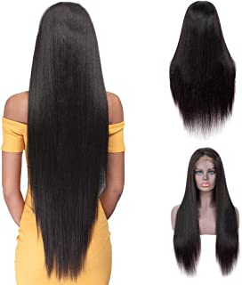 IUEENLY Brazilian Straight Lace Front Wigs Human Hair 13x4 Lace Front Wig For Black Women Pre Plucked with Baby Hair Natural Black 150% Density (26 inch)