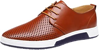 2ac25d2be3be Mens Hollow Solid Leather Shoes Men s Summer Breathable Business Leisure  Slip-On Driving Office Shoes