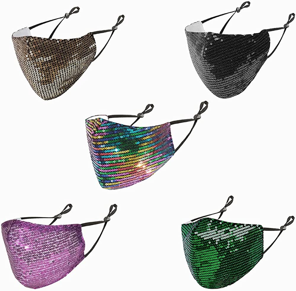 Sequin Face Cover Bandana Breathable Washable Reusable Fashion Mask Balaclava with Adjustable Ear Loops for Outdoor Women