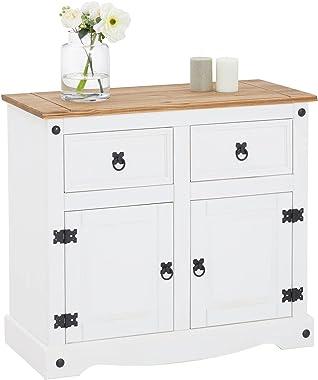 IDIMEX Buffet Campo Commode bahut vaisselier en pin Massif Blanc et Brun avec 2 tiroirs et 2 Portes, Meuble de Rangement Styl