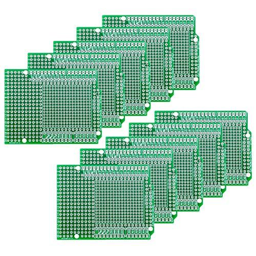 Electronics-Salon 10 PCS Prototyp PCB für Arduino UNO R3 Shield Board DIY, Combo 2 mm + 2,54 mm Pitch.