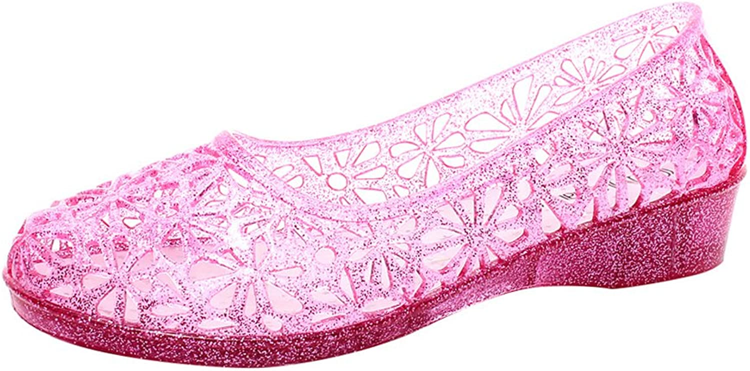 Omgard Womens Hollow Glitter Crystal Ballet Flat Jelly shoes Sandals