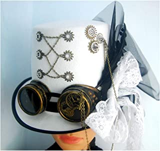 SHENTIANWEI Women White Steampunk Top Hat with Gear Glasses Magic Hat Performance Hat Size 57CM