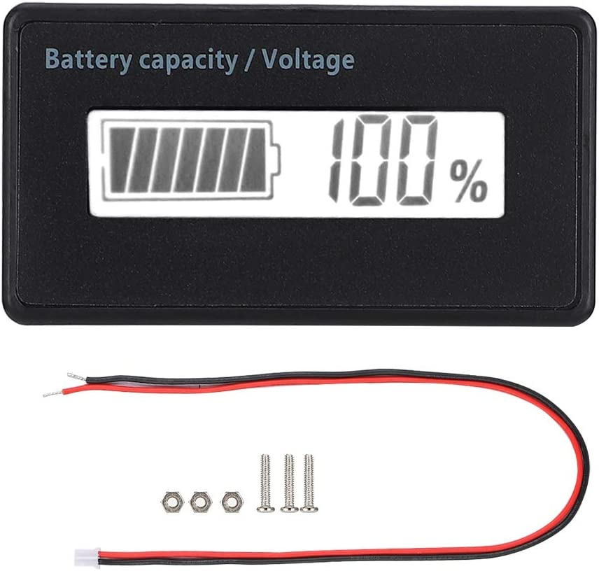 Aufee Waterproof 12-84V Accurately Battery Capacity Indicator LCD Battery Display, for Battery for Lead-Acid Battery for Iron Battery(White Light)