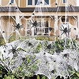 Sprinlot Telaraña de Halloween 100g y 30 Arañas, Telaraña Halloween Decoracion, Telaraña Elástica Araña plástico, Halloween Decoracion Conjunto, Decoracion Terror para casa Embrujada Fiesta