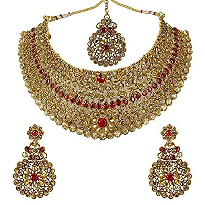 MUCH-MORE Indian Awesome Traditional Shiny Necklaces Earrings with Maang Tikka Jewelry for Women B (Red)
