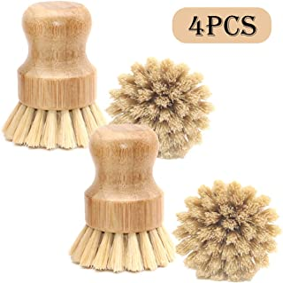 Hooapoun 4 Packs Wood Palm Scrub Brush Sisal Dish Brush Round Natural Dish Scrubber for Cast Iron Pots, Pans, Kitchen Sink and Vegetable