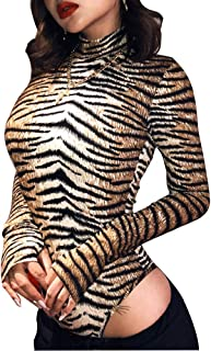 AZHONG Women's Sexy Long Sleeve Tigerskin Snakeskin Print Back Zipper Bodycon Romper Shorts Jumpsuit Pants Club Outfits