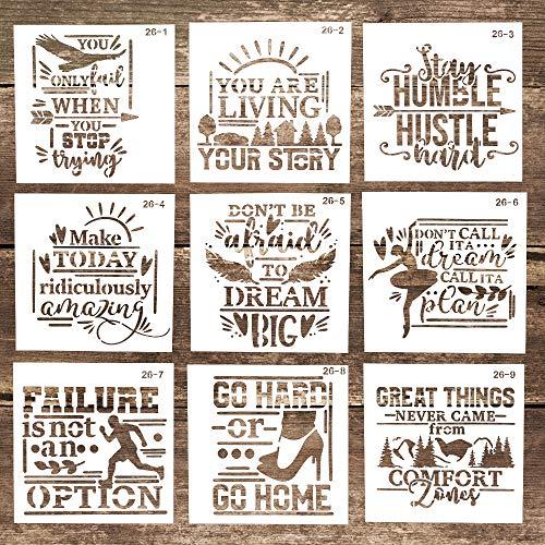 Plantillas decorativas de letras reutilizables para manualidades, pintura de madera, lona, suelo, pared y azulejos (5.9 x 5.9 pulgadas), juego de 9