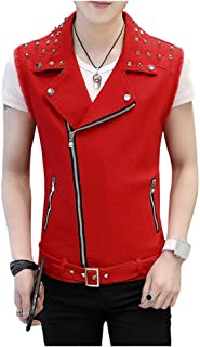 Men's Sleeveless Lapel Punk Zipper Denim Jean Vests Jacket with Rivets