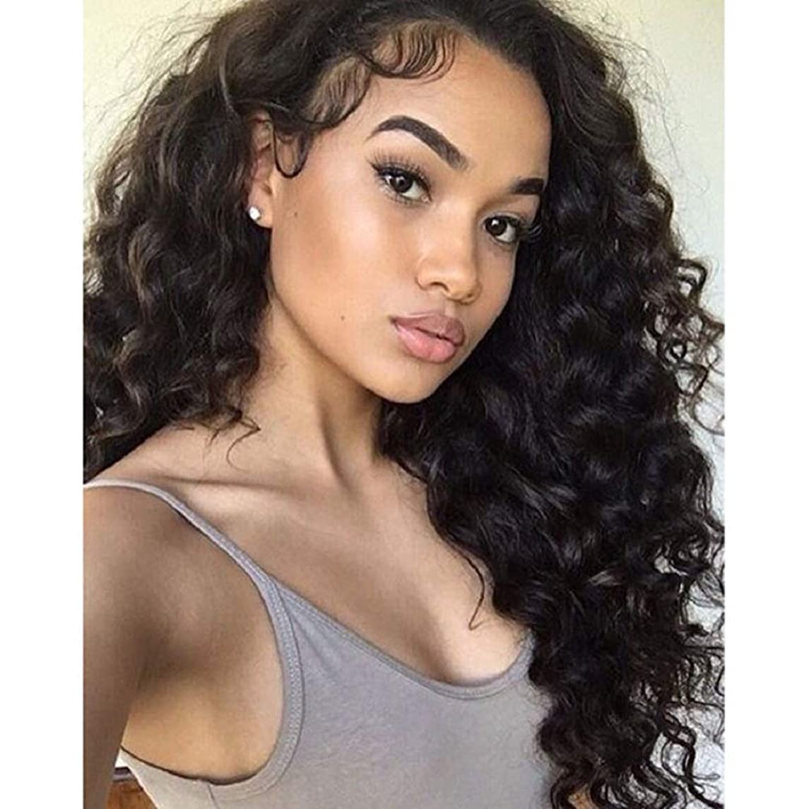 Am Youth Loose Wave Lace Front Human Hair Wigs - Glueless Brazilian Virgin Hair Loose Curly Wig with Baby Hair 130% Density for Black Women 18Inch