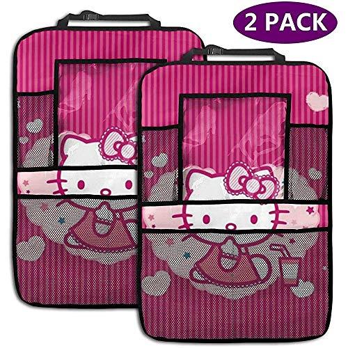 W-wishes Organisateur de Voiture de siège arrière - Accessoires de Voiture Rose Hello Kitty, Protecteur de siège arrière Kick Mats avec Support de Tablette accru