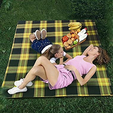 Extra Large & Thick Waterproof Picnic Outdoor Blanket - 76  x 59  Sandproof Beach Blanket Water Resistant Backing Camping Mat with Stakes - Spring Summer Portable Soft Sand-Free Blanket