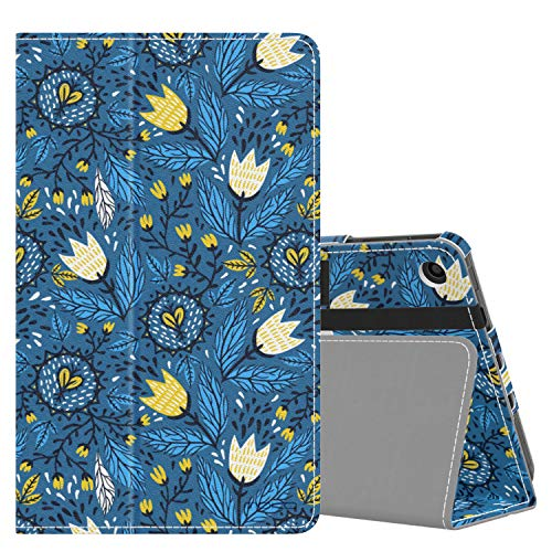 MoKo Case Fits Kindle Fire 7 Tablet (9th Generation, 2019 Release), Premium PU Leather Slim Folding Stand Shell Multiple Viewing Angles Cover with Auto Wake/Sleep - Tulip Blue
