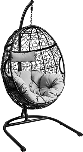 discount Giantex Hanging Egg Chair, Swing Chair new arrival with C Hammock Stand Set, Hammock Chair with Soft Seat discount Cushion & Pillow, Multifunctional Hanging Chairs for Outdoor Indoor Bedroom (Gray) online sale