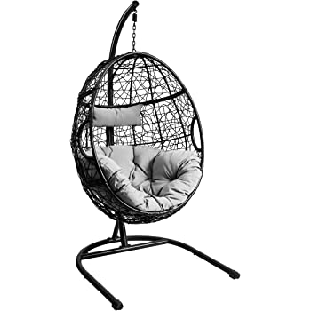 Mid Century Rattan Chair, Amazon Com Giantex Hanging Egg Chair Swing Chair With C Hammock Stand Set Hammock Chair With Soft Seat Cushion Pillow Multifunctional Hanging Chairs For Outdoor Indoor Bedroom Gray Garden Outdoor